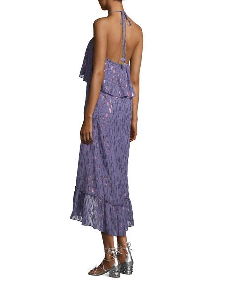 Stargazer Tiered Chiffon Maxi Dress, Blue