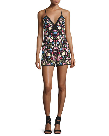 Flower Foliage Sleeveless Romper, Black
