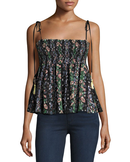 Needle & Thread Floral Stripe Tie Top, Black