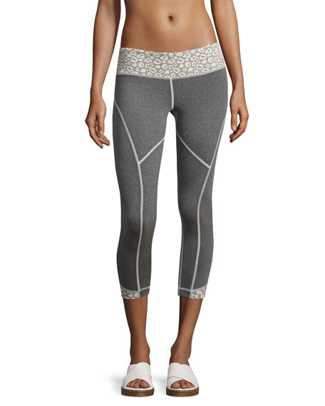 Cheetah Rhythm Capri Leggings, Gray/White