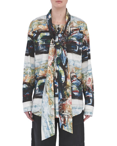 Printed Long-Sleeve Shirt with Neck Tie