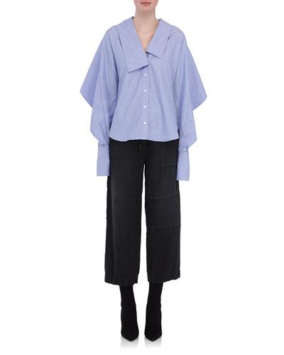 Sculptural-Sleeve Cotton Shirt, Light Blue