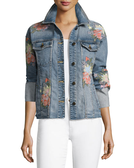 Joe's Jeans The Belize Floral Embroidered Denim Jacket,