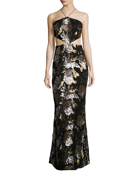 Mestiza New York Arianna Sequined Cutout Gown, Black/Multicolor