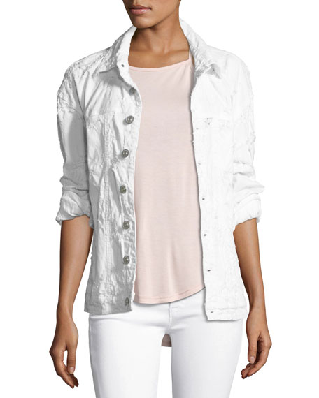 Hudson Emmet Long-Sleeve Destroyed Boyfriend Jacket, White
