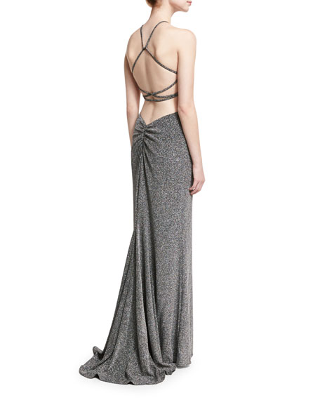La Femme Sleeveless Cross-Back Metallic Column Gown, Silver