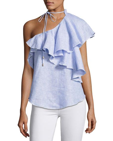 Karina Grimaldi Florinda One-Shoulder Ruffle Linen Top, Multi