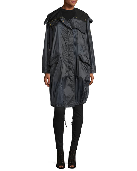 Burberry Voluminous Lightweight Parka Jacket, Blue