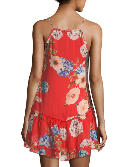 Hydrangea-Print Lace-Trim Dress, Orange Pattern