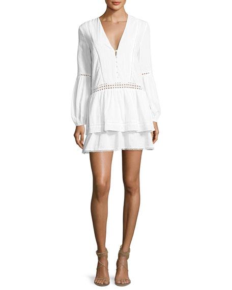 Cotton Voile Long-Sleeve Mini Dress, White