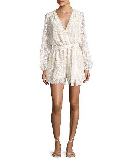 Loveshackfancy Bowie Long Sleeve Lace Playsuit, White