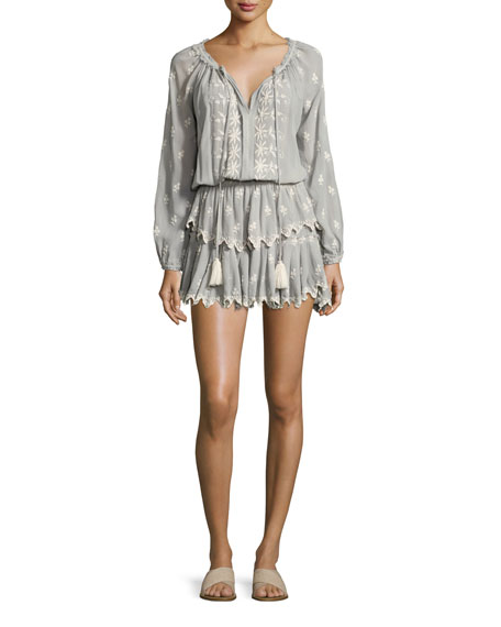 Loveshackfancy Popover Embroidered Ruffled Mini Dress, Beige