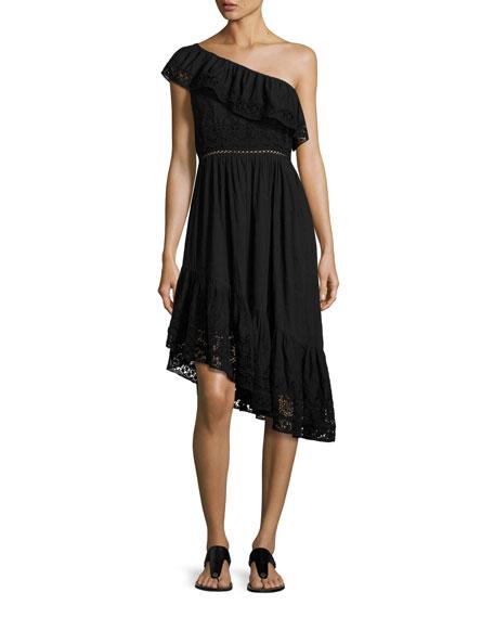 Loveshackfancy Pamela Asymmetric One-Shoulder Midi Dress, Black