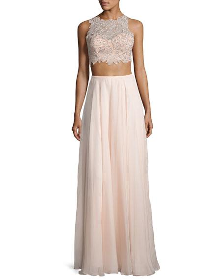 La Femme Sleeveless Beaded Lace Crop Top w/