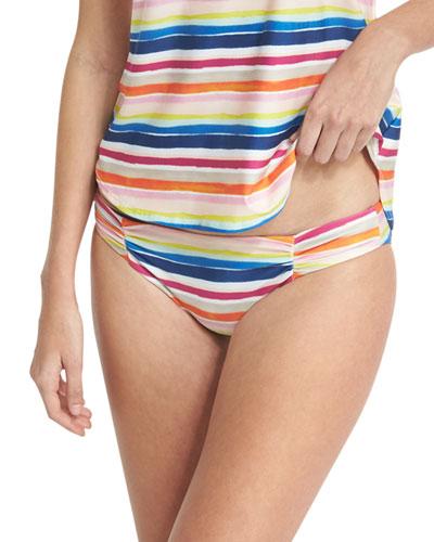 Watercolor Horizon Reversible Swim Bikini Bottom, Multicolor