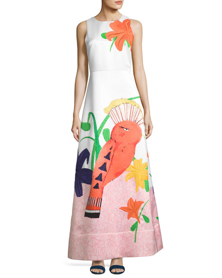 Honey Sleeveless Printed A-Line Gown, White/Multicolor
