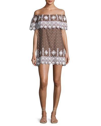 Agnes Geometric Embroidered Cotton Dress, Brown