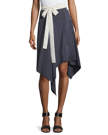 Alexis Danica Asymmetric-Hem Wrap Skirt, Navy and Matching