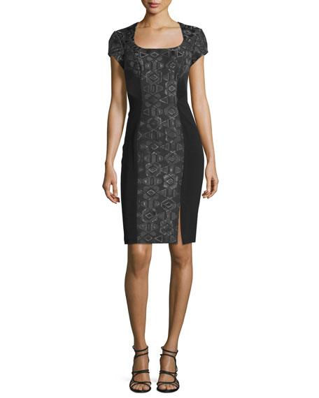 Theia Short-Sleeve Geometric-Jacquard Cocktail Dress, Black