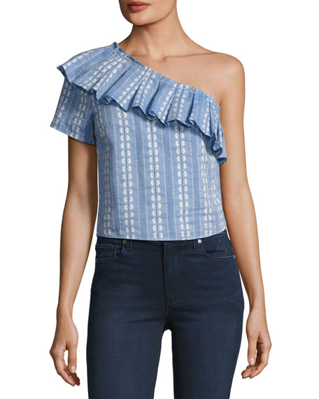 One-Shoulder Ruffle Chambray Top, Blue