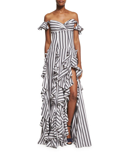 Off-the-Shoulder Wide Stripe Ruffled Gown, Black