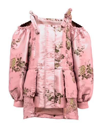 Floral Cold-Shoulder Peplum Coat, Pink
