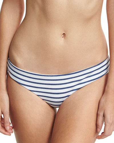 Chambray All Day Striped Swim Bikini Bottom, Blue