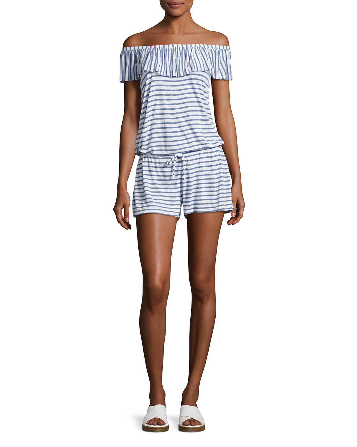dd0088830316 Splendid Chambray All Day Off-the-Shoulder Striped Coverup Romper ...
