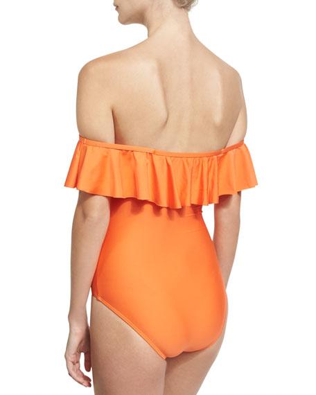 Sun-Sational Solid One-Piece Swimsuit, Orange