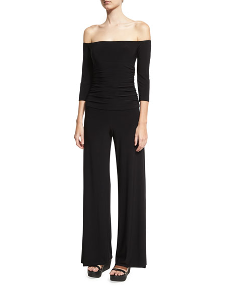 Off-the-Shoulder Shirred Waist Coverup Jumpsuit, Black