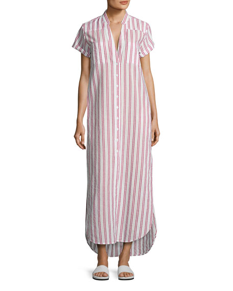 Onia Kim Button-Front Coverup Maxi Dress, Red/White