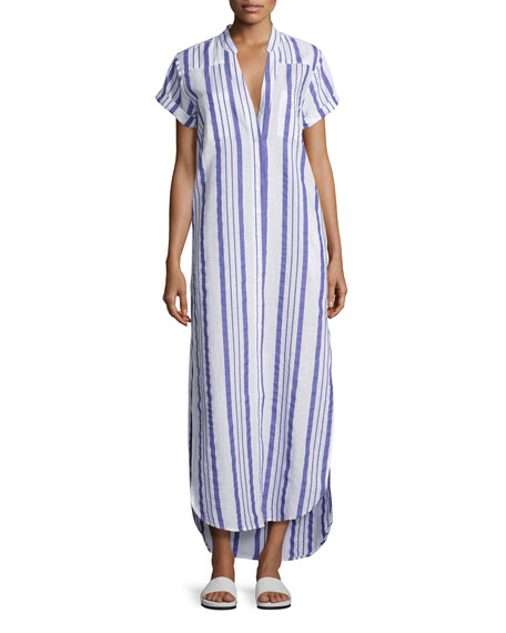 Onia Kim Button-Front Coverup Maxi Dress, Blue/White