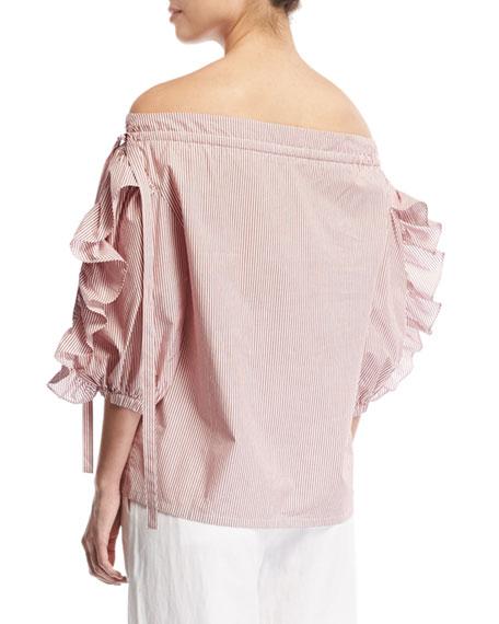 Striped Short-Sleeve Ruffle Cotton Top