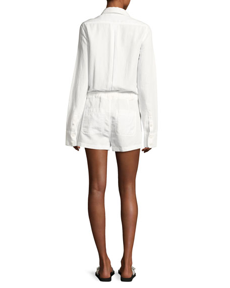 Belted Cotton-Linen Shirt Romper, White
