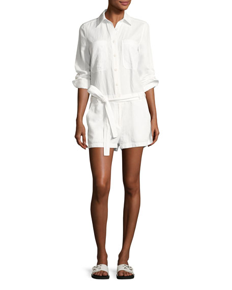 Robert Rodriguez Belted Cotton-Linen Shirt Romper, White