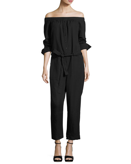Off-the-Shoulder Belted Jumpsuit, Black