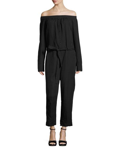 Off-the-Shoulder Belted Jumpsuit, Black