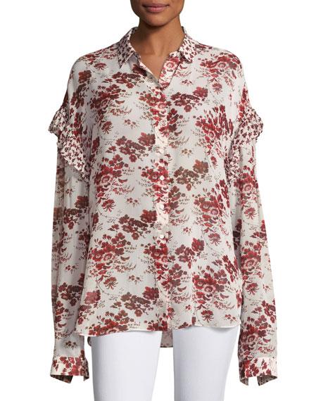 Floral-Print Oversized Chiffon Ruffle Shirt, Beige