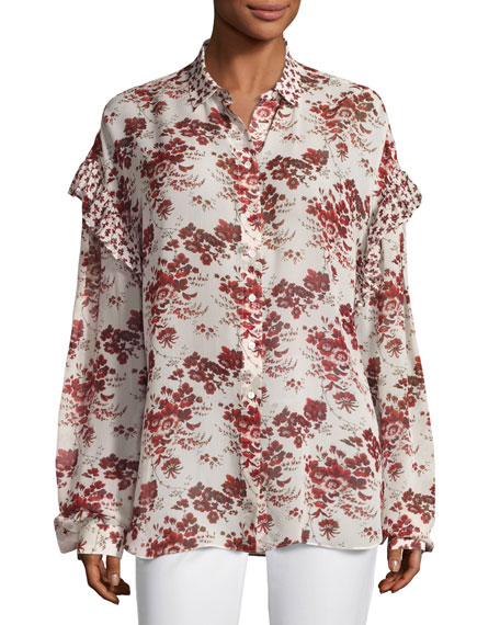 Robert Rodriguez Floral-Print Oversized Chiffon Ruffle Shirt,