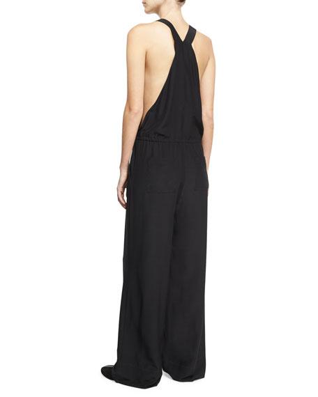 Drawstring-Waist Sleeveless Silk Jumpsuit, Black