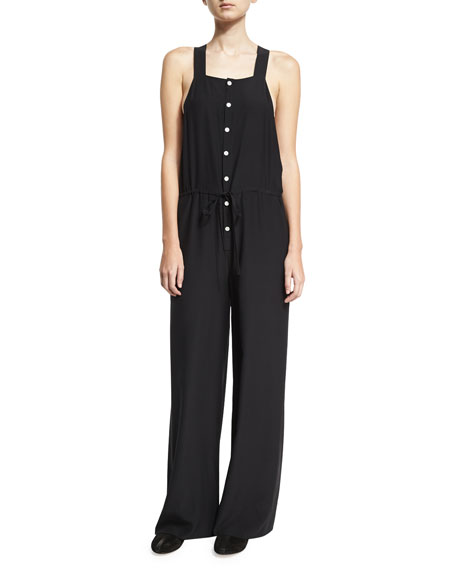 Drawstring-Waist Sleeveless Silk Jumpsuit, Black