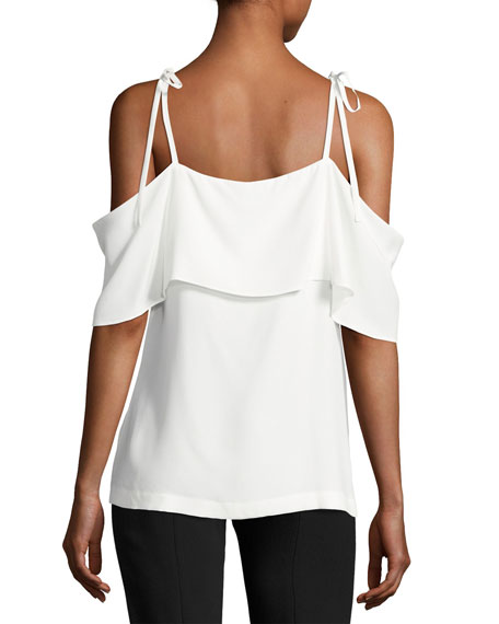 Off-The-Shoulder Ruffled Silk Top, Ivory