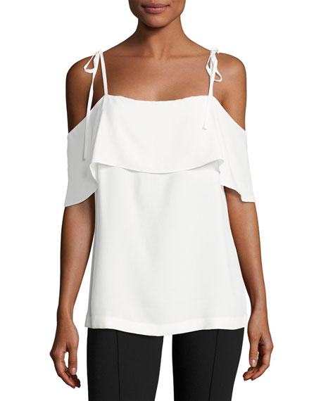 Robert Rodriguez Off-The-Shoulder Ruffled Silk Top, Ivory