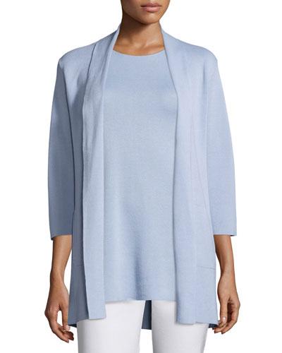 3/4-Sleeve Silk/Organic-Cotton Jacket, Delfina, Petite