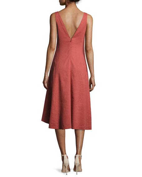 Theory Tadayon New Stretch Linen Midi Dress, Red