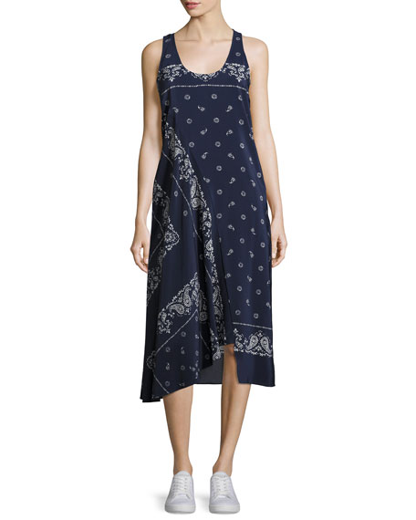Theory Apalania Bandana Tank Dress, Blue