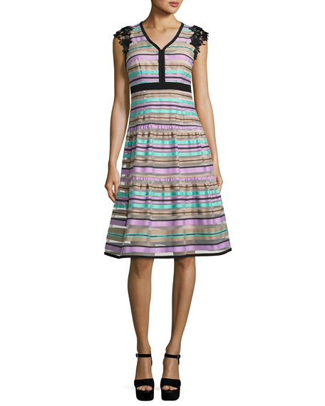 Nanette Lepore Magic Potion Sleeveless Striped Tulle Dress,