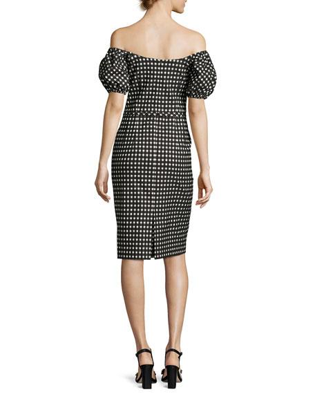 Cheeky Off-the-Shoulder Check Sheath Dress, Black