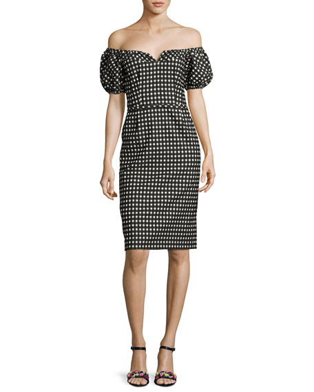 Nanette Lepore Cheeky Off-the-Shoulder Check Sheath Dress, Black
