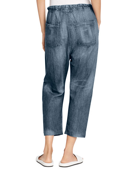 Drawstring Cropped Denim Trouser, Light Wash